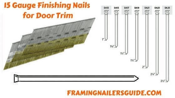 What size nails for door trim?